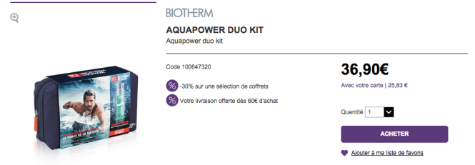 Coffret AquaPower Biotherm -30%